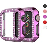 Njjex Bling Case Compatible For Apple Watch 38mm 40mm 42mm 44mm, Crystal Diamond Apple Watch Protector Case Slim PC Anti-Scra