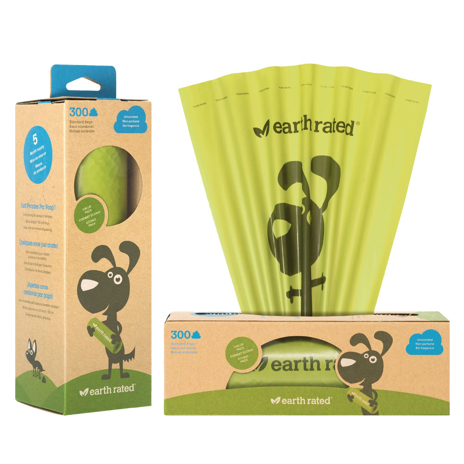 Earth Rated Dog Waste Bags, Poop Bags on a Single Roll for Pantries (not