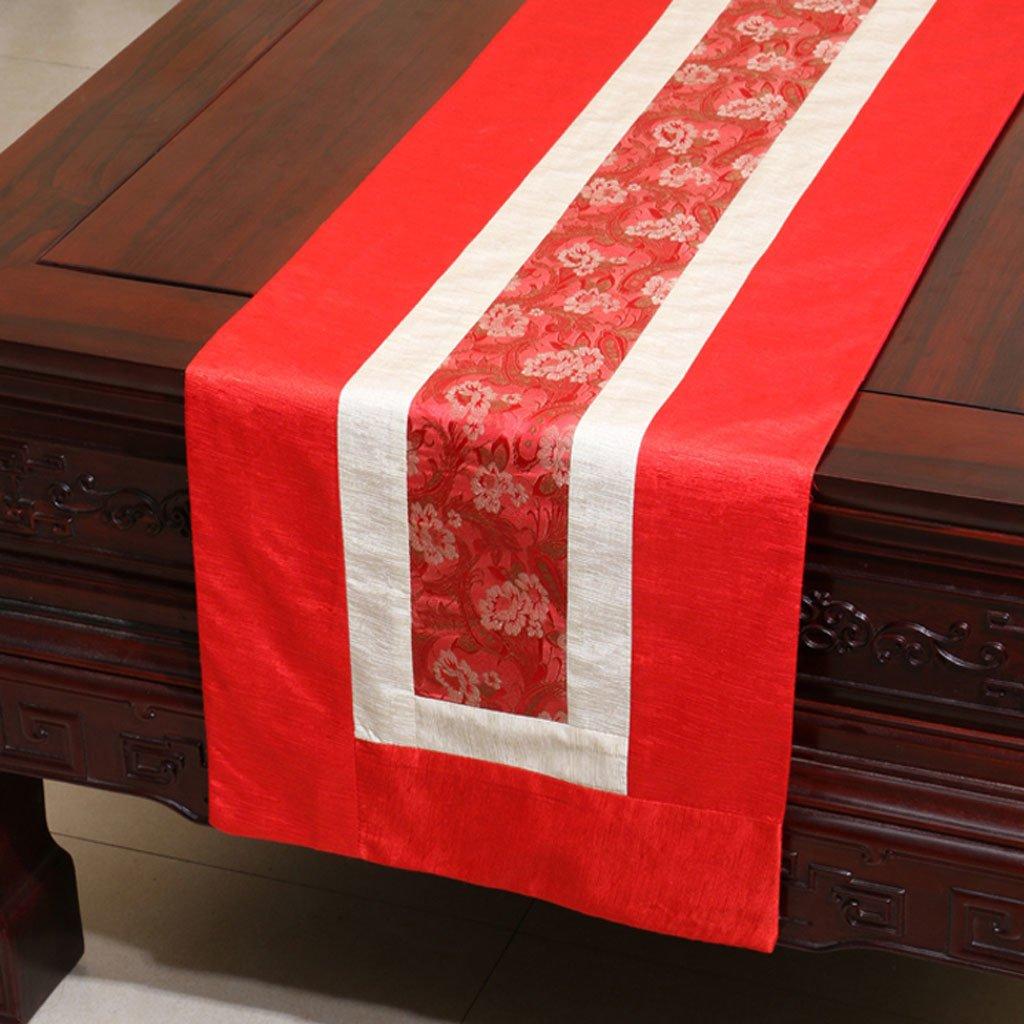 CYALZ rosso Flower Pattern Tappeto da tavolo moderno Moderno semplice Upscale Soggiorno Cucina Ristorante Hotel Tessuti casa (Questo prodotto solo vende corridore da tavolo) 33  300cm