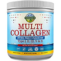 Multi Collagen Powder Type I II III V X with Biotin Vitamin C Hyaluronic Acid, Paleo & Keto Friendly, Skin Hair Nail & Joint Support, Bovine Marine Chicken & Eggshell, Non-GMO Gluten-Free, Unflavored