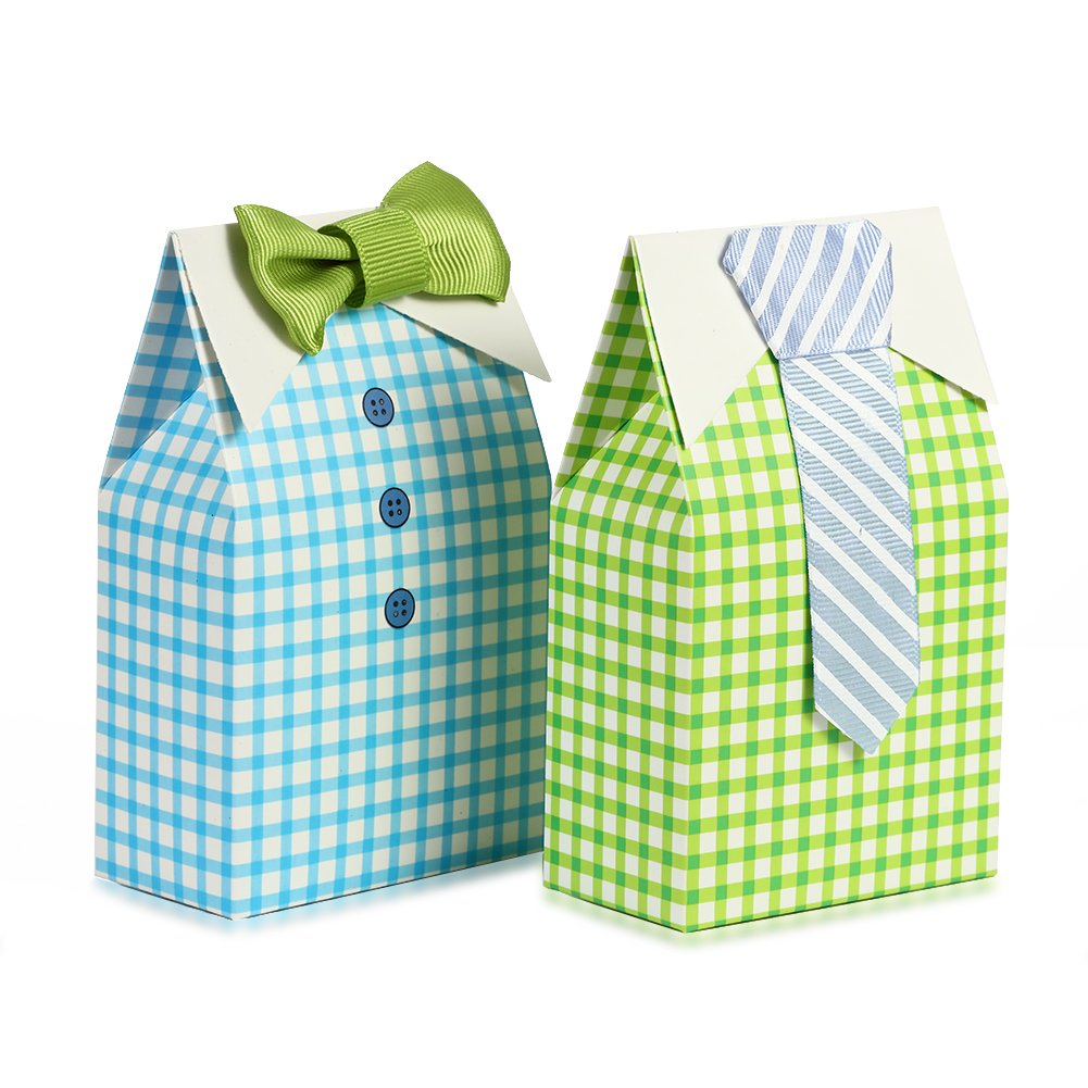 Adeeing 50pcs My Little Man Blue Green Bow Tie Birthday Boy Baby Shower Favor Candy Box