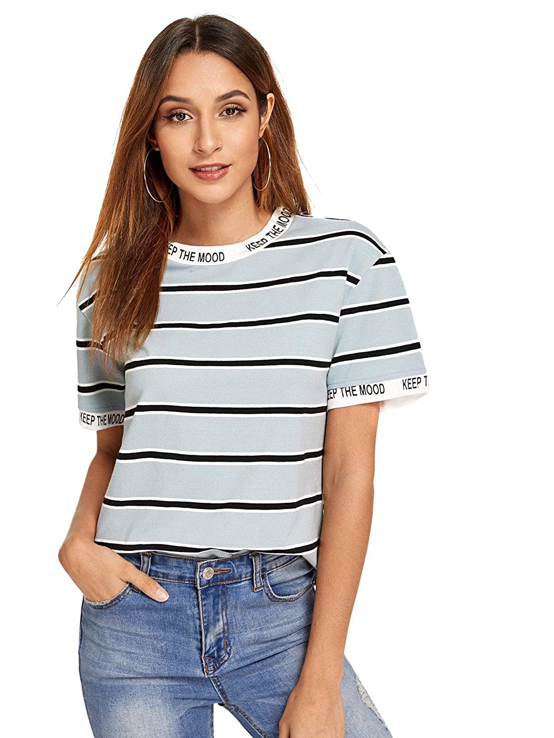 bluee Verdusa Women's Graphic Letter Printed color Block Stripe TShirt Casual Tee