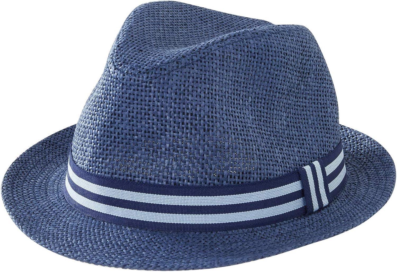 VERTBAUDET Sombrero panamá Bicolor para niño Azul Oscuro Liso 55/56