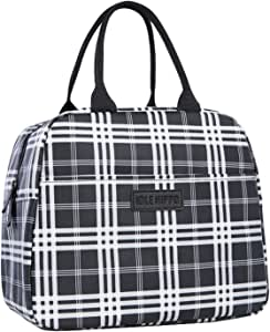 Insulated Lunch Bags for Women Cooler Tote Bag with Front Pocket Lunch Box Reusable Lunch Bag for Men Adults Girls Work School Picnic - Grid