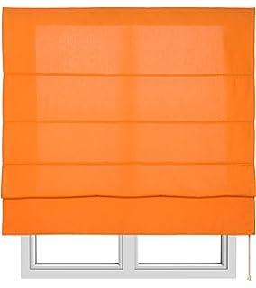 Estores Basic, Stor plegable con varillas, Naranja, 150x175cm, estores para ventana,