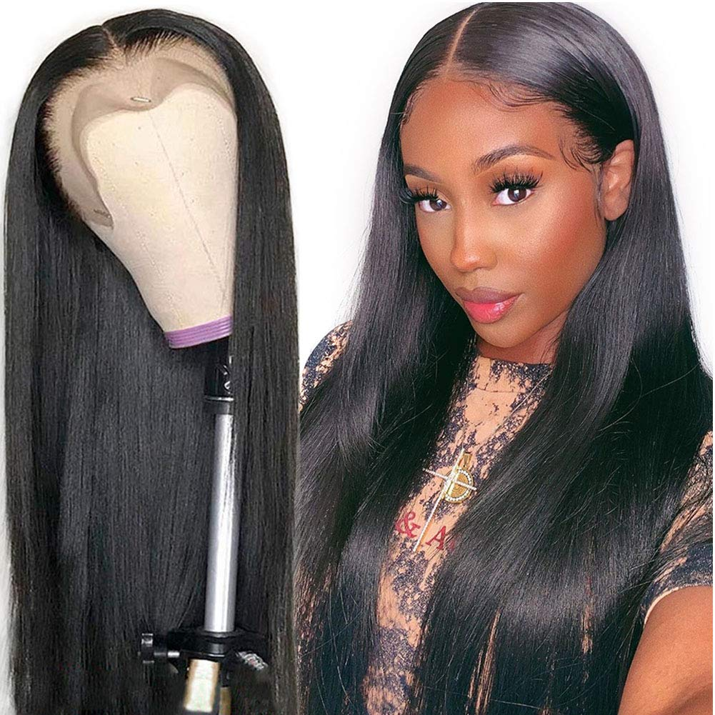 Amazon Com Straight Lace Front Wigs Human Hair 14 Inch 150 Density Brazilian Virgin Hair Straight Human Hair Wigs For Women 14inch Natural Color Beauty