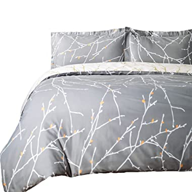 Bedsure Duvet Cover Set with Zipper Closure-Grey/Ivory Printed Pattern,Full/Queen (90 x90 )-3 Piece (1 Duvet Cover + 2 Pillow Shams)-110 GSM Ultra Soft Hypoallergenic Microfiber