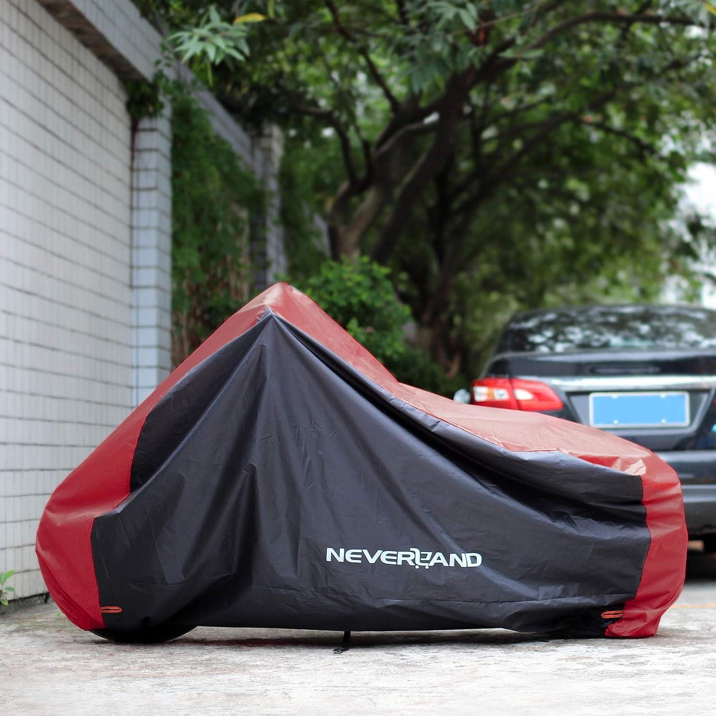 NOVSIGHT Taille XXL B/âche Housse de Moto Scooter Noir et Rouge en Tissu 210D Oxfords Enduit Argent Etanche avec 4 Oeillets en Tissu 2 Bandes /à Boucle Durable Solide