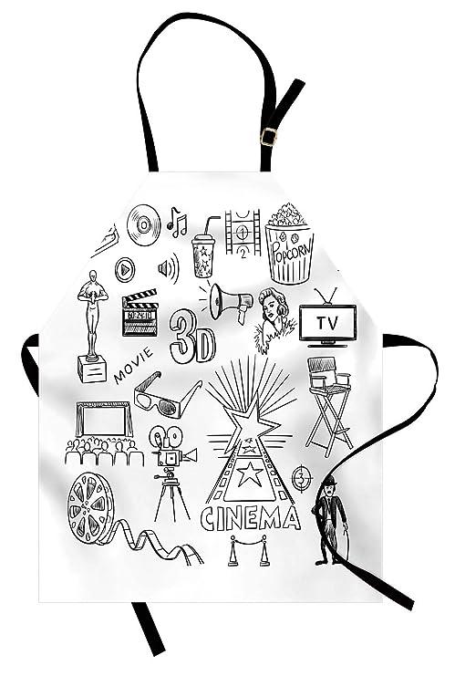 ABAKUHAUS Cine Delantal de Cocina, Boceto Oscar, Altura Ajustable ...