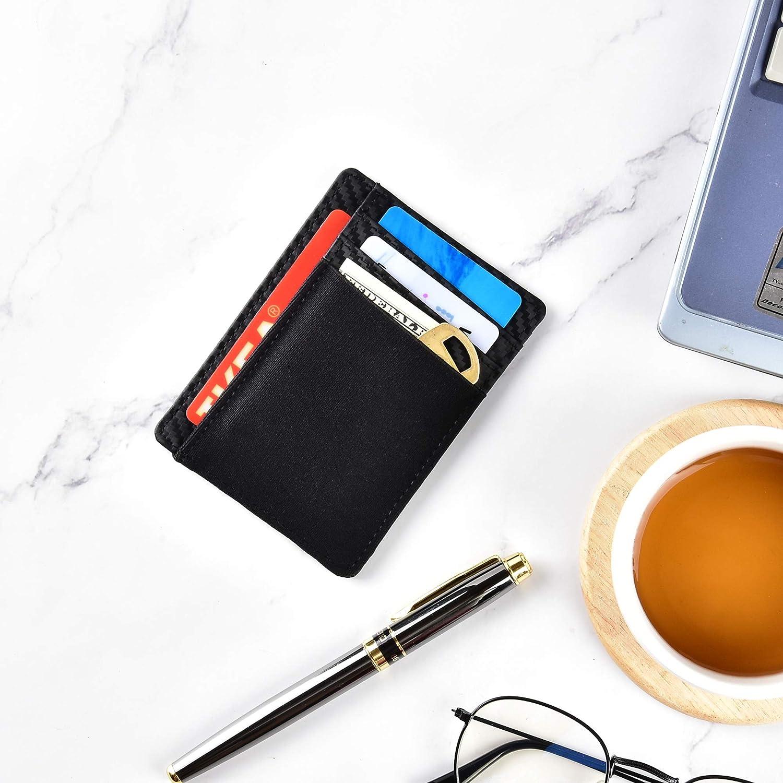 AK - Carbon Fiber Slim Minimalist Leather RFID Blocking Front Pocket Wallet Credit Card Holder