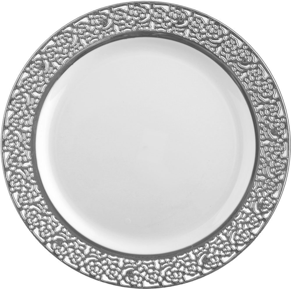 Lovely Decorline White With Silver Lace Rim  Heavyweight Plastic Elegant  Disposable Plates, Wedding Party  Elegant Dinnerware   Inspiration  Collection (7 Inch ...