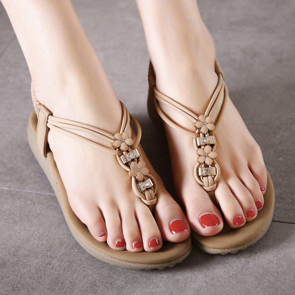 ZHXUANXUAN Fashion Girls' Shoes Boho Rhinestone Flat Casual Sandals Beach Shoes Girls' EU:37/UK:4.5|Beige B07F1JVM78 1dabfe