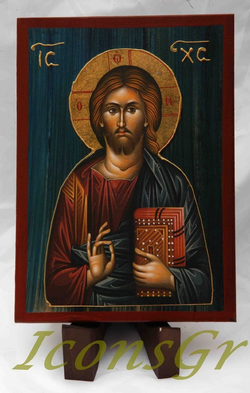 a2/_2 Ic/ône en bois fait main representant J/ésus Christ Chr/étienne orthodoxe grecque