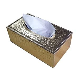 /N Rectangular PU Leather Tissue Box Napkin Holder, Used in Home Office, Hotel Room Napkin Box, Decorative Black (Golden Crocodile Pattern)