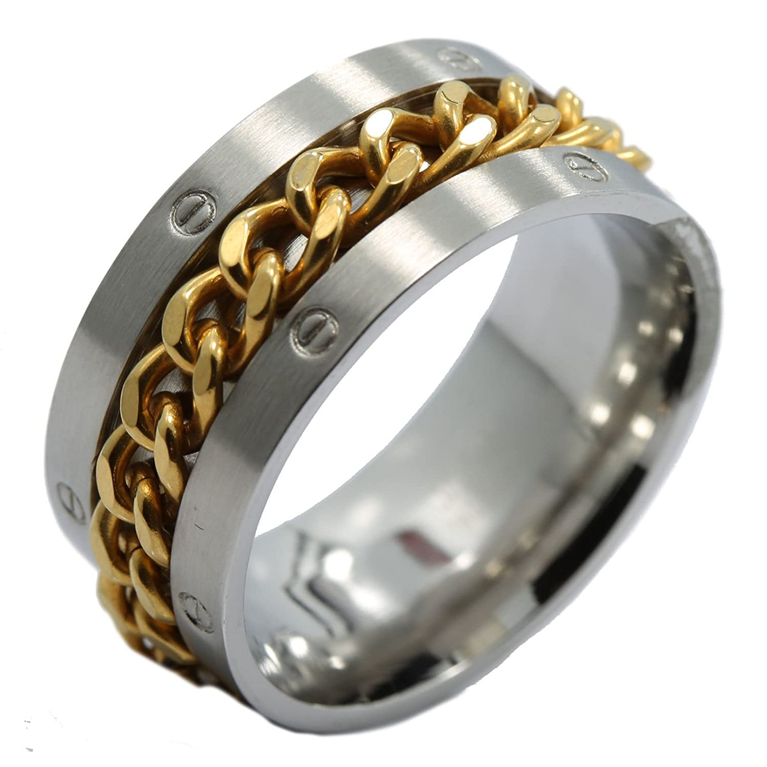 Amazon 11mm Stainless Steel Gold Plated Spinning Chain Wedding Band Ring Spikes Jewelry: 11 Mm Wedding Bands At Reisefeber.org