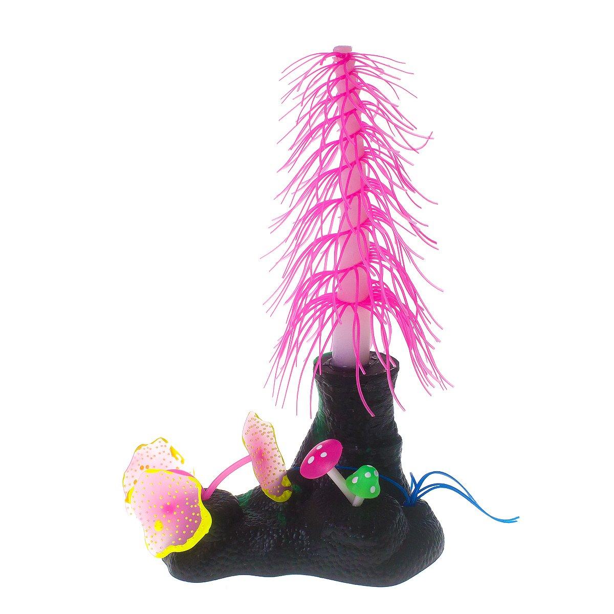 Fuchsia Pack of 1 Fuchsia Pack of 1 Saim Aquarium Artificial Decorative Christmas Tree with Mushroom Coral Plants Ornament Decor for Fish Tank Decorations, Fuchsia