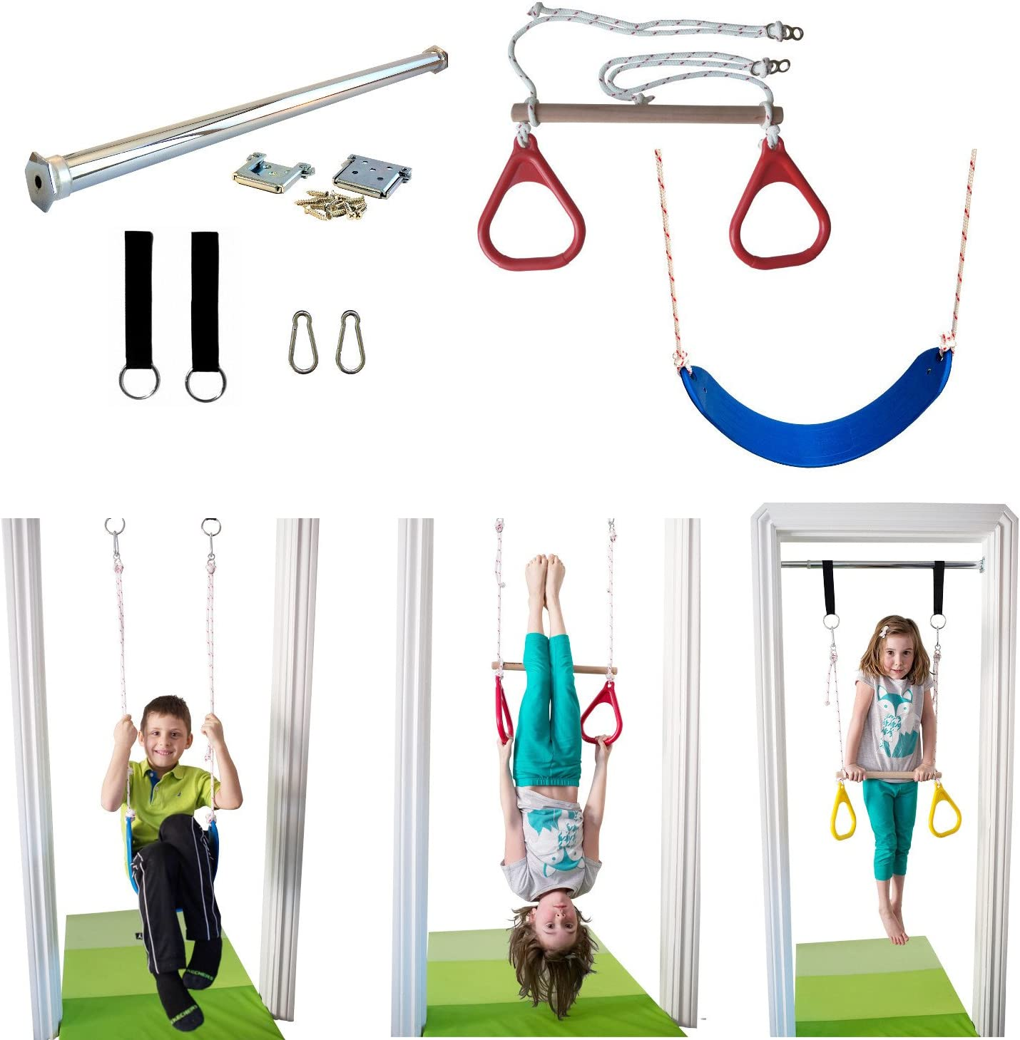 DreamGYM Indoor Swing Trapeze /& Rings Combo Blue and Therapy Swing Red DreamGYM Inc.
