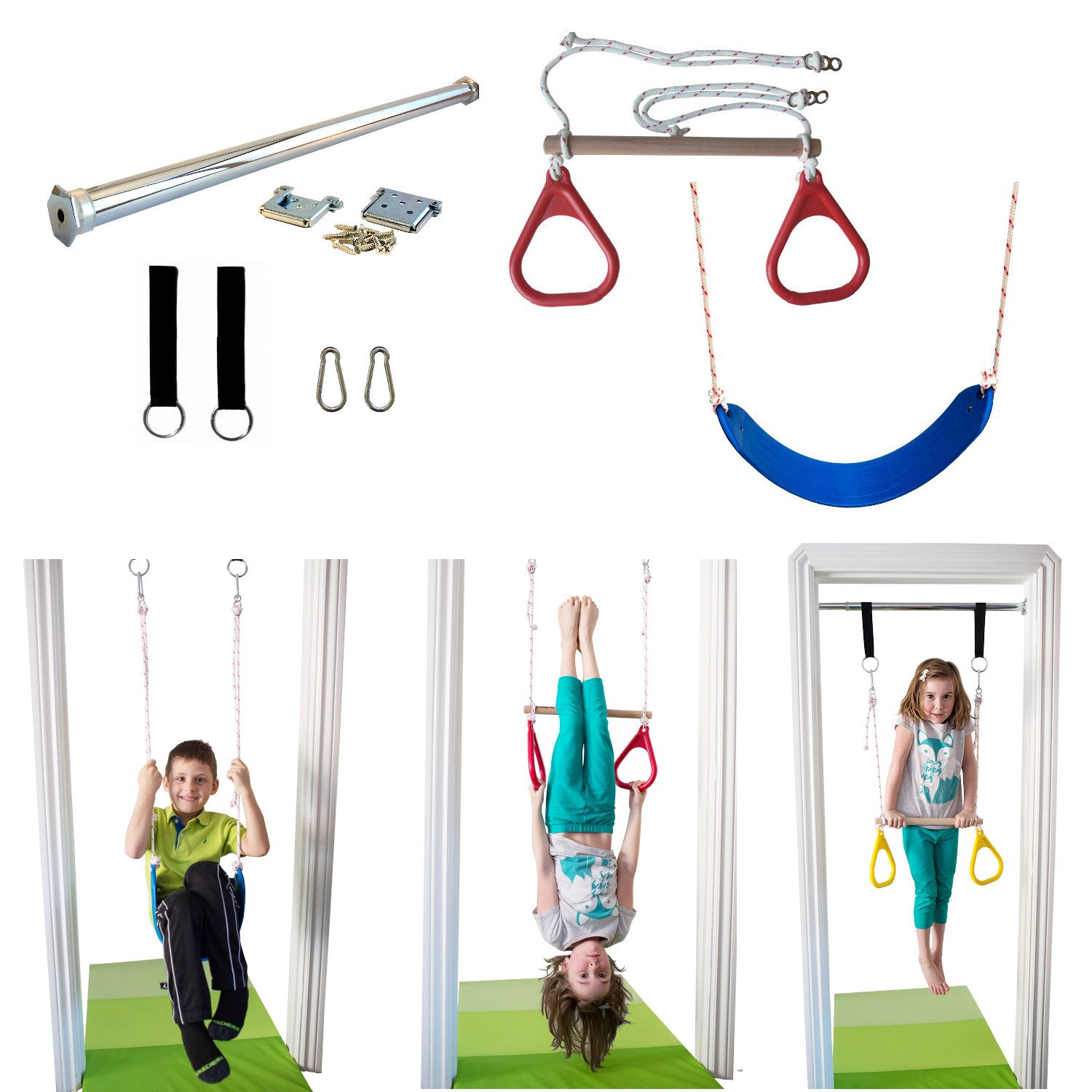 Indoor Swing by DreamGYM   Trapeze Bar & Gymnastic Rings Combo and Rope Swing for Doorway Gym