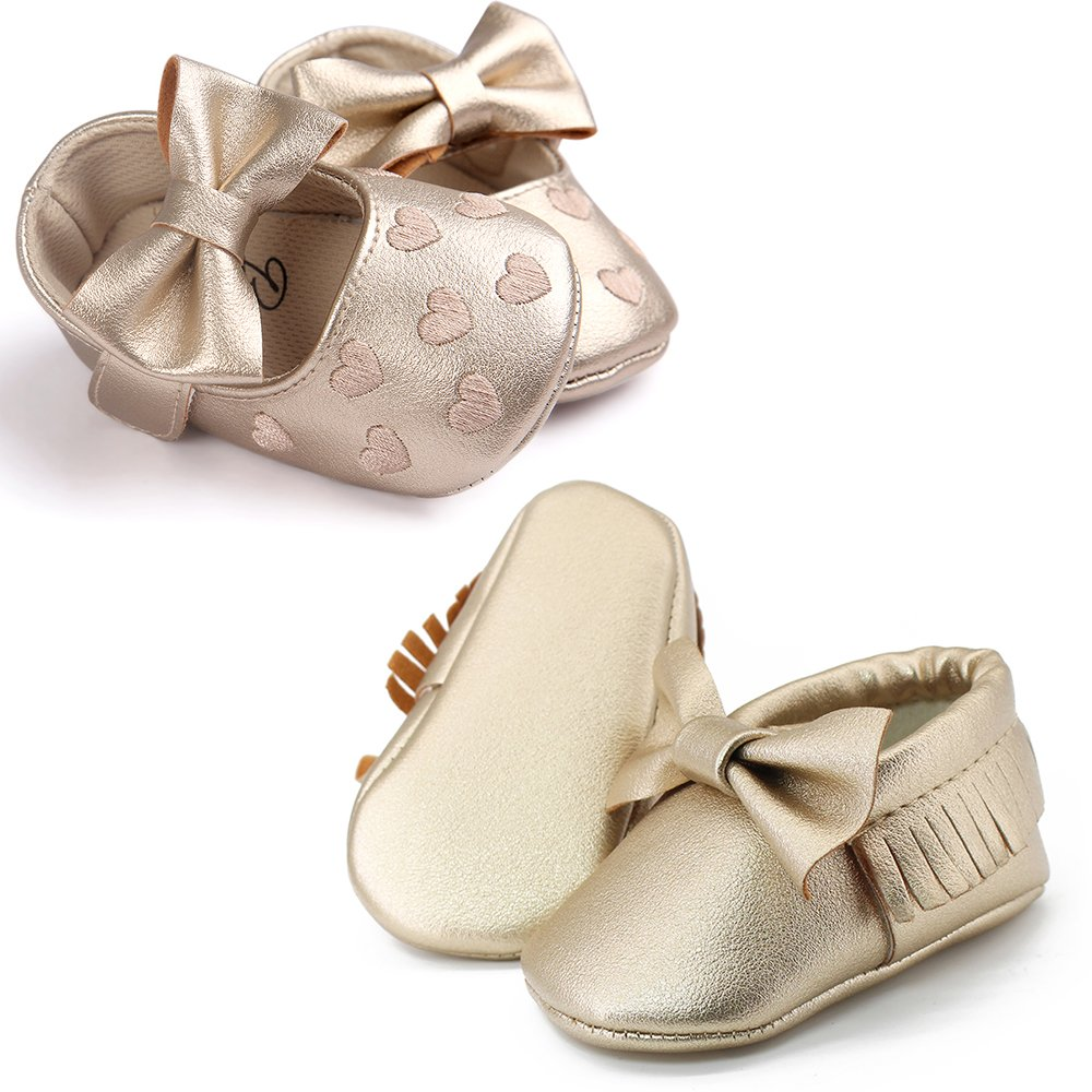 OOSAKU Infant Toddler Baby Soft Sole PU Leather Bowknots Shoes (12-18 Months, Gold+Gold A) by OOSAKU (Image #4)