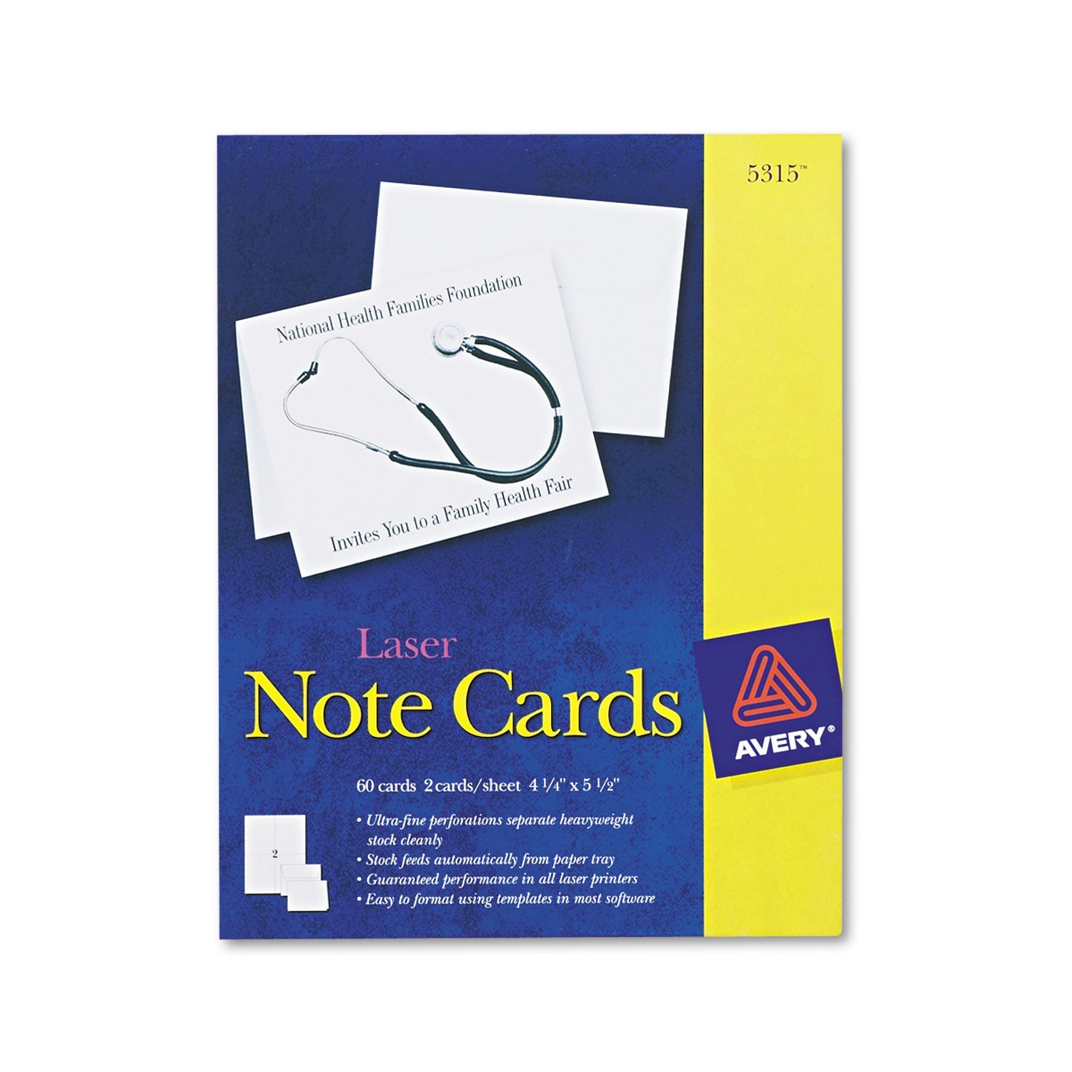 AVE5315 UNITED STATIONERS (OP) CARD,NTE,5.5X4.25,60BXWHT