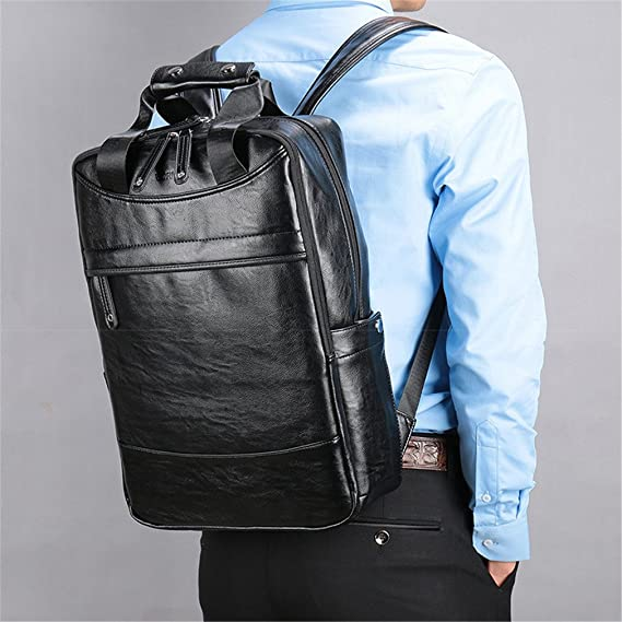 6ff95e0cd332 Amazon.com  UKXMNC Big Capacity Leather Travel Backpack Business Office  School Backpack Bags For Men Black  Sports   Outdoors