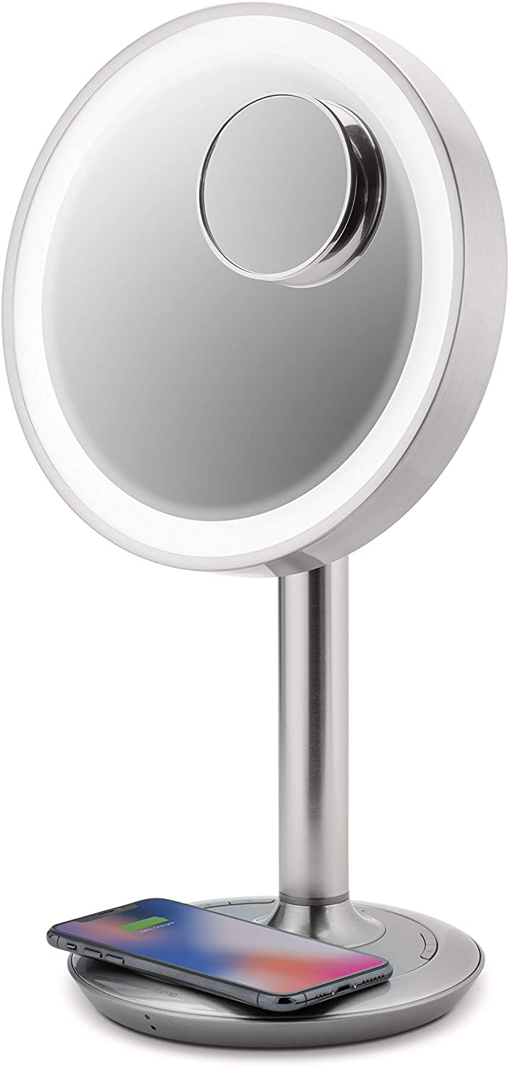 """iHome 9"""" LUX Power Bluetooth Makeup Vanity Mirror with Wireless Charging and USB Charging, Bluetooth Audio, 10X Removable Magnification Mirror, Tilting Any Angle, Full Spectrum Lighting"""