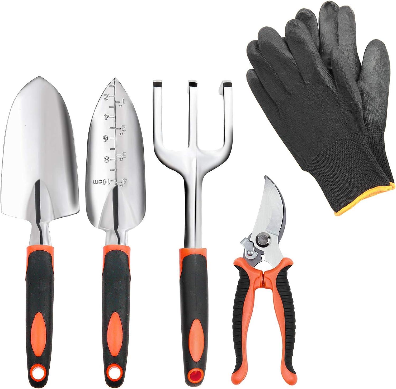 5 Piece Garden Tool Set Including Transplanting Spade, Trowel, Cultivator, Pruner and Gardening Gloves, Gardening Tools Kit with Heavy Duty Cast-Aluminium Heads & Ergonomic Handles,Garden Gifts