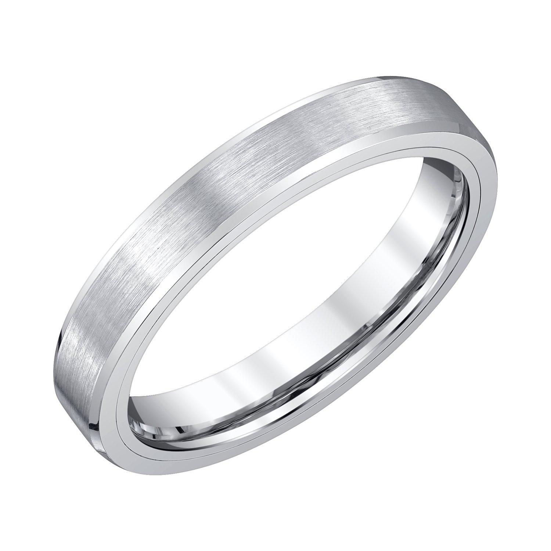 AX Jewelry Mens 4mm White Tungsten Wedding Band