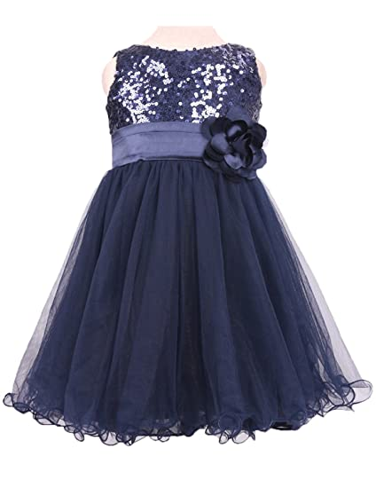 Stillluxury Knee Long Evening Prom Dresses for Girls Sequined Tulle Flower Girl Dress Short Navy Size