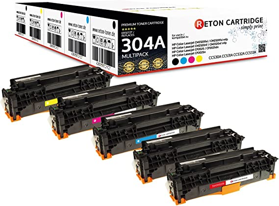 5 Original Reton Toner Kompatibel Nach Iso Norm 19798 Ersetzt Hp 304a Cc530a Cc531a Cc532a Cc533a Für Hp Color Laserjet Cm2320fxi Mfp Hp Color Laserjet Cm2320nf Mfp Cp2025dn Cp2025n Cp2025 Bürobedarf