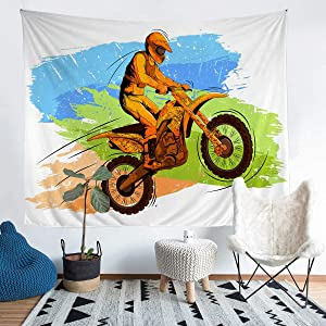 Teens Extreme Sports Theme Tapestry for Kids Boys Men Motocross Rider Printed Wall Blanket Brown Motorcycle Pattern Wall Hanging Room Decor Blue Green Tie Dye Bedding Throw Blanket Large 59x82