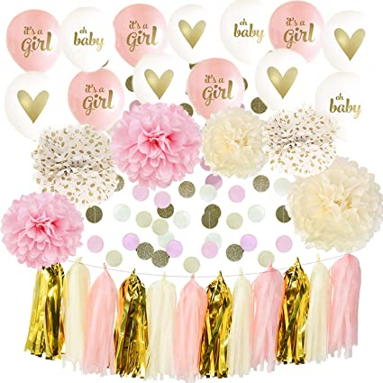 Amazon.com: It s a Girl Baby Shower decoración, rosa, crema ...