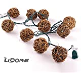 LIDORE 10 counts Natural Rattan Balls String Light. Warm White Light for Patio, Wedding, Garden and Party (Brown)