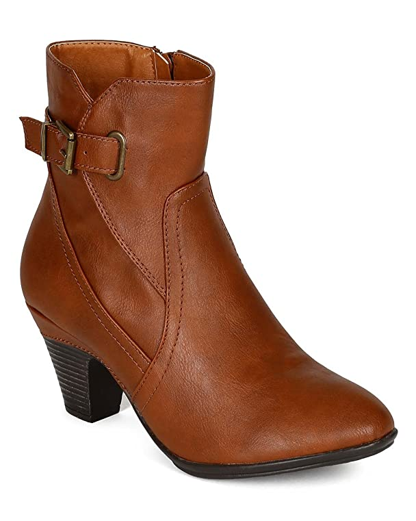 CK72 Women Leatherette Round Toe Chunky Heel Buckle Riding Ankle Bootie - Cognac Leatherette