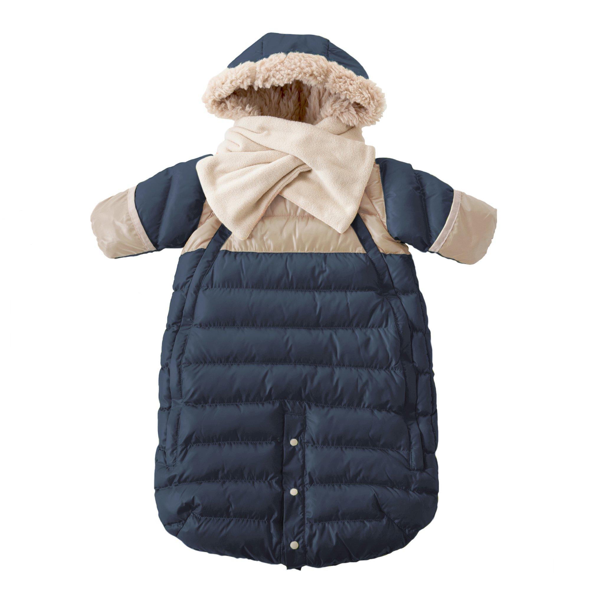 7AM Enfant Doudoune One Piece Infant Snowsuit Bunting, Midnight Blue/Beige, Large