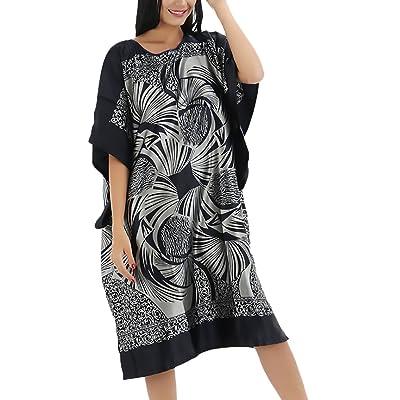 Lannister Fashion Pijama Mujer Verano Corto Camison Manga Corta Cuello Redondo Vestido Vintage Camison Sleepwear Hippies Etnico Estampadas Ropa De Dormir Camisones Tallas Grandes: Ropa y accesorios