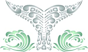 Whale Tail Stencil, 7.5 x 4.5 inch (M) - Tribal Ethnic Maori Orca Blue Whale Wall Stencils for Painting Template