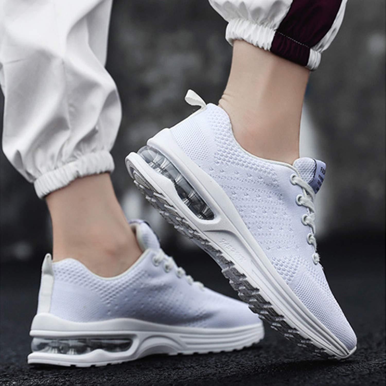 Etiqueta 42 Zapatillas Deportivas Mujer Zapatos de Malla Transpirables y Ligeros con Cordones y Coj/ín de Aire para Running Fitness Blanco 40 EU