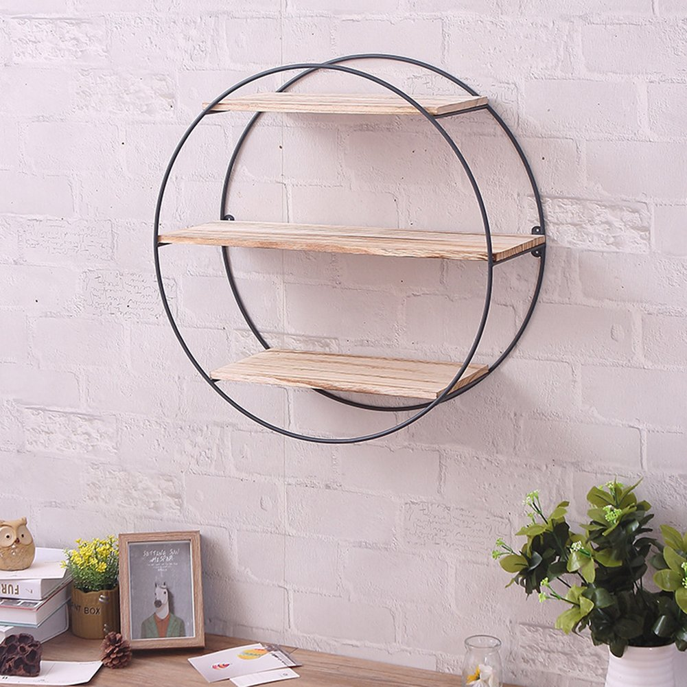 US-PopTrading Bookcase Shelving, Iron Shelf Art Wooden Wall Brackets Supporter Bracket Retro Solid Wood Industrial Decorative Wall Coat Hanger