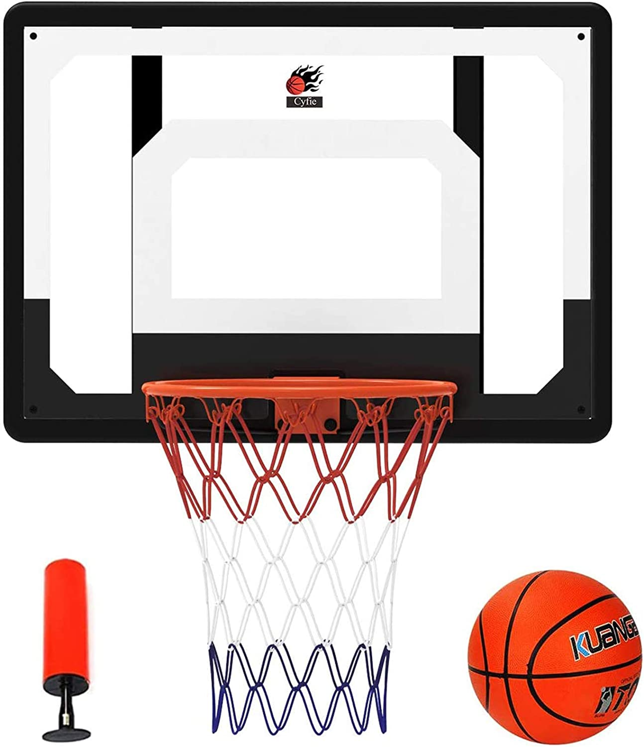 "Cyfie Over-The-Door Basketball Hoop Backboard, 32"" x 23"" Basketball Hoops for Home/Office, Basketball Goals for Kids Adults: Toys & Games"