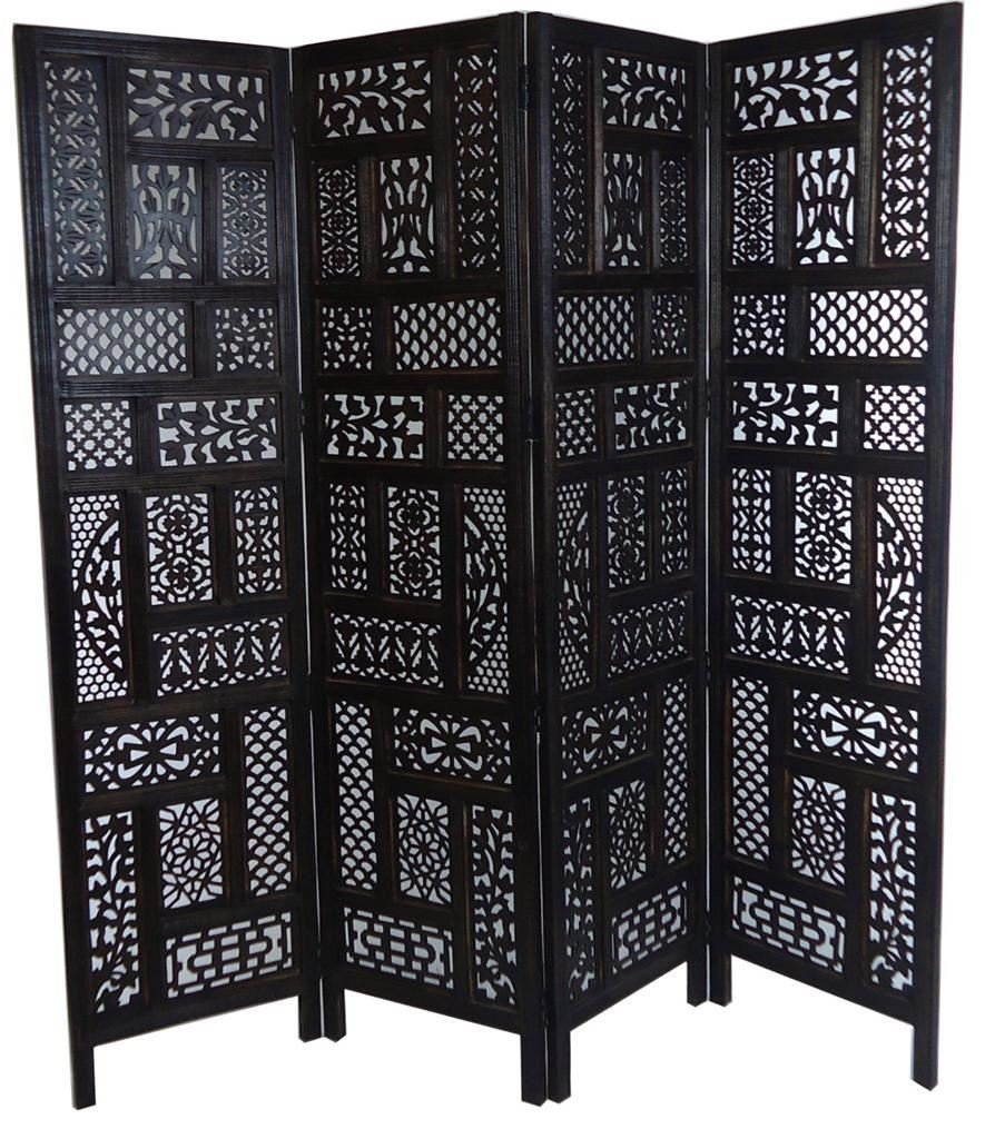 4 Panel Heavy Duty Indian Screen Wooden Screen Divider Circle Jali 177x183cm[Dark Brown] Topfurnishing Ltd 1005475-003