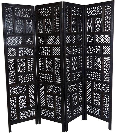 Hand Carved 4 Panel Indian Wood Screen//Divider Circle Jali Design