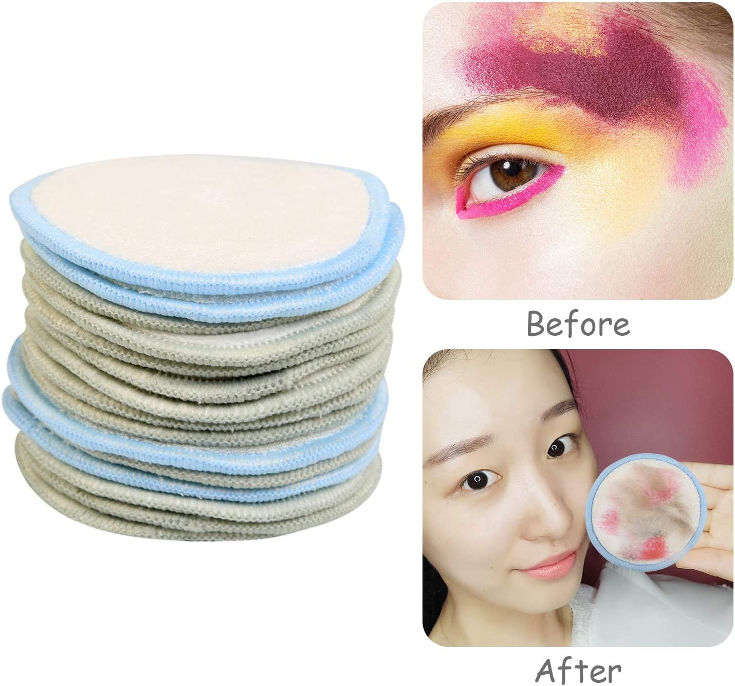 BelleStyle Reusable Make up Remover Pads Cotton Pads Face Washable and Eco-Friendly Bamboo Removal Pads for Make up Removal and Facial Cleaning Perfect For All Skin Types Zero Waste