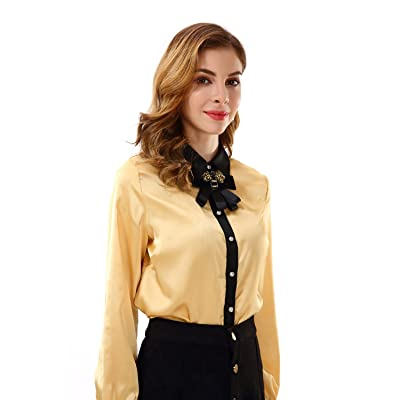 Apperloth Women's Long Sleeve Bow Tie Neck Button Down Chiffon T Shirt Blouse Top