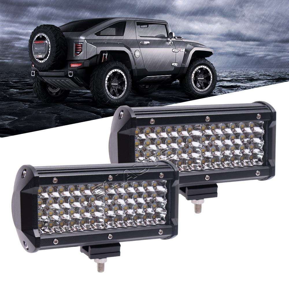 Quad Row,2PCS Bliauto 7in LED Light Bar,LED Pods Off Road lights 240W Spot Beam 25000LM for UTV ATV Jeep Truck Boat 4X4 Of Road Fog Driving Bumper Light,2 Years Warranty