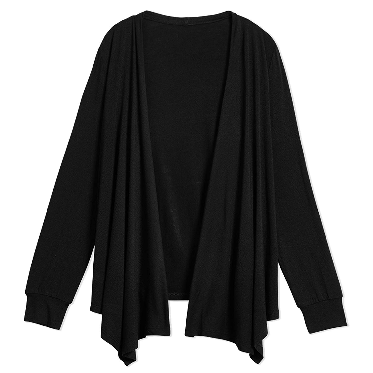 Cymbopogon Girls Long Sleeve Cardigan Open Front Solid Light Weight Loose Sweater Tops with Pockets