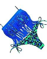 Chic Maillot de Bain Deux Pieces Trikini Bikini Set Bandeau Rembourre a Franges Multicolores pour Femme Fille Koobea