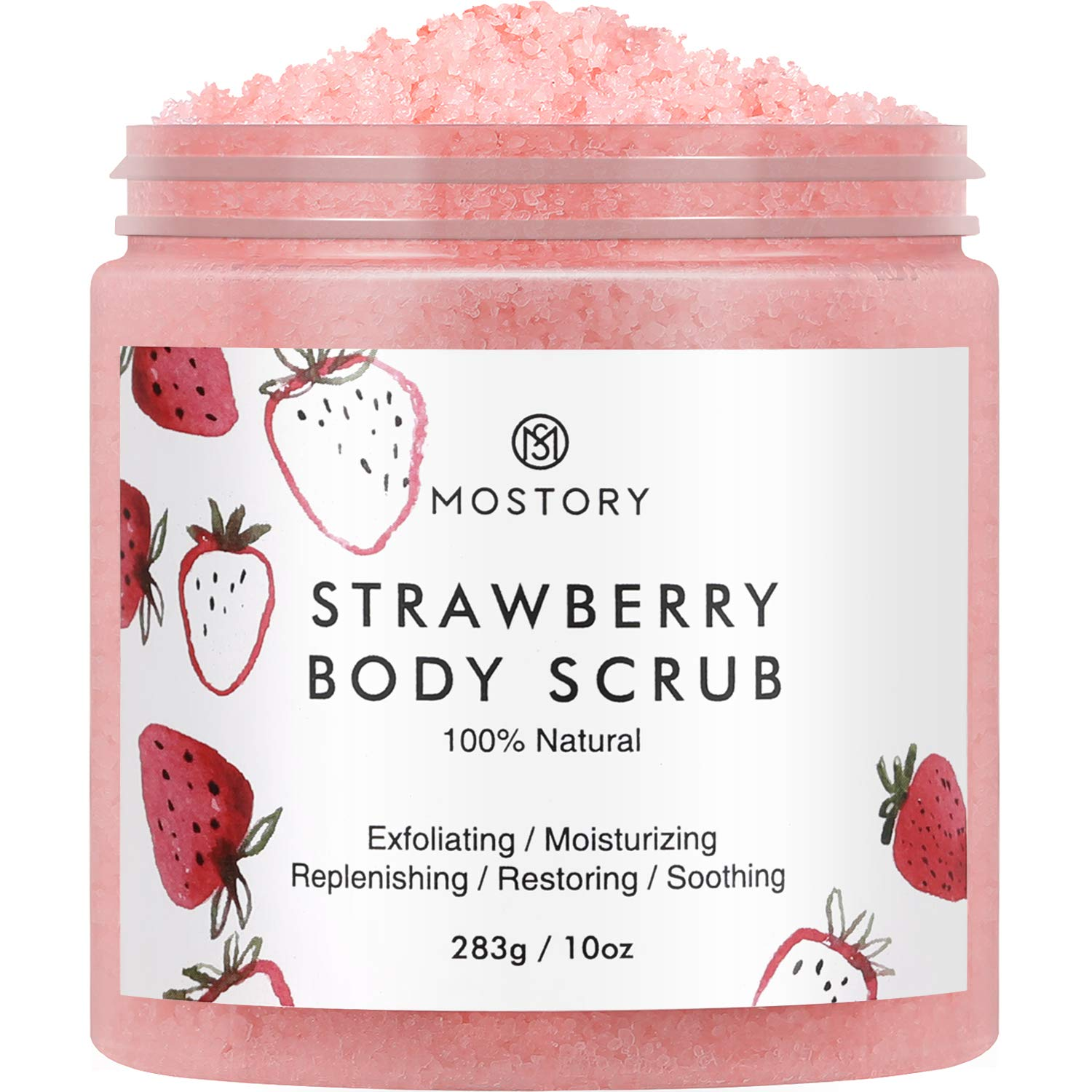 Sweet Strawberry Exfoliating Body Scrub - Organic Dead Sea Salt Natural Exfoliator Anti Aging Acne Cellulite Wrinkles Moisturizing Nourishing Vitamin E Vitamin C Coconut Oil Scrubs for Women Men 10 oz : Beauty