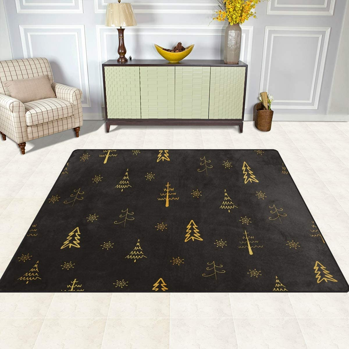 Amazon Com Christmas Area Rugs 5x7 Area Rugs For Living Room Bedroom Large Area Rugs Christmas Gold Tree And Snowflake Kitchen Dining