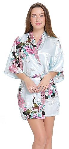 Aibrou Donna Vestaglie Scollo a V Kimono Corto da Notte in Raso Con Cintura, Pavone Esotici , Raso Fiore. Pigiama, Camicia da Notte, Toga.